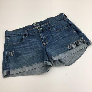 Old Navy Diva Denim Jean Shorts Cuff & Patches 12
